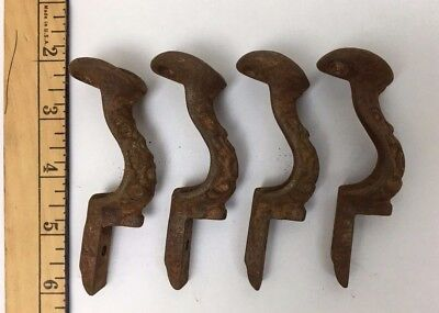 Cast Iron Handrail Brackets Antique Vintage Lot of 4 - As Found Condition