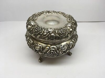 Antique Art Nouveau J.B. Silver Plated Jewelry/Trinket Box With Roses