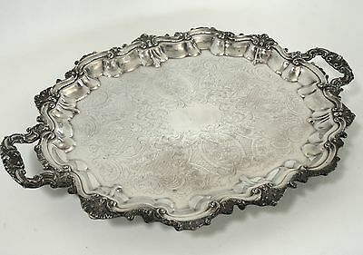 Vintage POOLE Silver Co. HUGE ornate tray, platter, silver plate, large, big