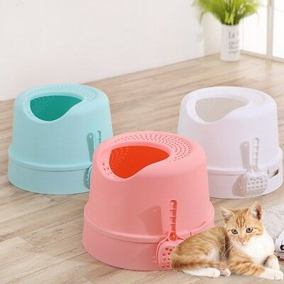 New Cat Litter Box Detachable Hooded Pet Toilet Training Pan Tray House W/Shovel