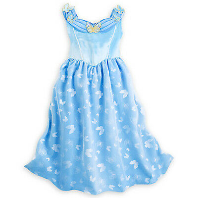 NWT Disney Store Cinderella Deluxe Nightgown Butterfly 4 5/6 7/8 Girl