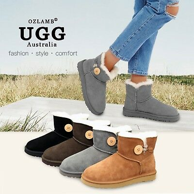 NEW Premium Wool UGG Women Classic Ankle Short/Medium Mini Button Boot