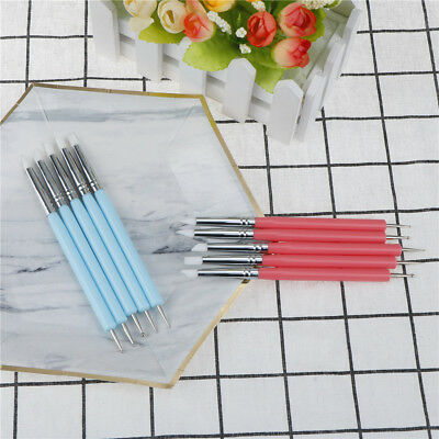 5X2 Way Pottery Clay Ball Styluses Tools Polymer Clay Sculpture Nail Art Tools ^