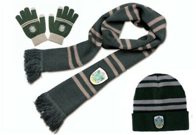 Harry Potter Slytherin Knit Soft Warm Winter Scarf +Cap/Beanie/Hat+Gloves Gift