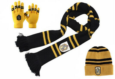 Harry Potter Hufflepuff Knit Soft Warm Scarf Cap Beanie Hat Gloves 3Pcs Set Gift