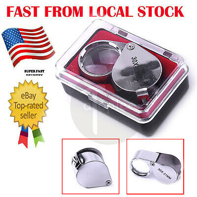 Folding 30X Manifing Loupe 21mm Magnifier Jeweler Glass Loupe in US