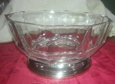 Vintage Clear Crystal Glass Bowl, 10 Sided Edge, Faceted, with Silverplate Base,