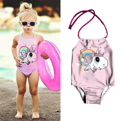 AU Stock Kids Baby Girls Cartoon Unicorn Bikini Swimwear Swimsuit Bathing Suit