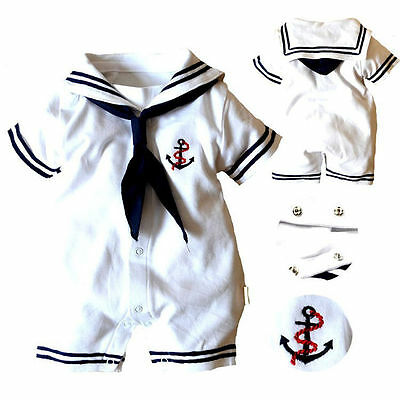 Kids Baby Boy Girls Infant Anchor Sailor Romper Jumpsuit Bodysuit Clothes Outfit