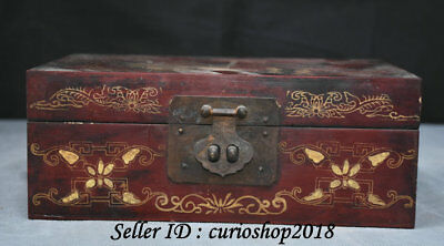 "9"" Marked China Lacquerware Wood Dynasty lacquerware Jewelry Jewellery Box Boxes"