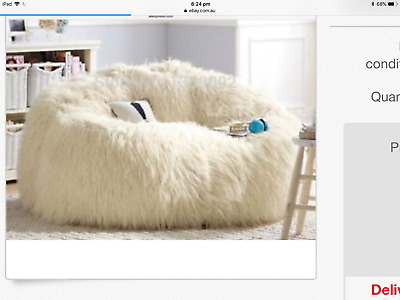 Large Ivory Faux Fur Beanbag Cover Bean Bag Lounge Room Rumpus Room Reading Nook