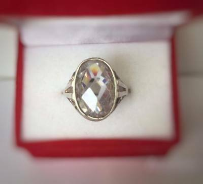 Vintage USSR Ring with WHITE Stone Silver 875 Soviet Antique Size 7