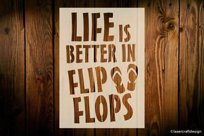 Flip Flops Stencil Sign Reusable Phrases Quotes Sayings Fun House Art Craft Wood