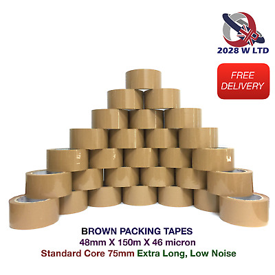 BROWN PARCEL PACKING TAPE - 48mm*150m*46mic (EXTRA LONG,  LOW NOISE, ECONOMY)