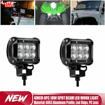 "2PCS 4"" Flood 54W Round LED WORK LIGHT BAR OFFROAD SUV 4WD DRIVING LAMP 12V 24V"
