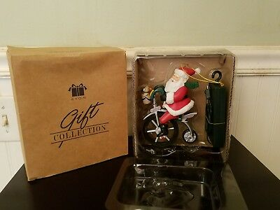 Avon Cycling Santa Musical Ornament Nib