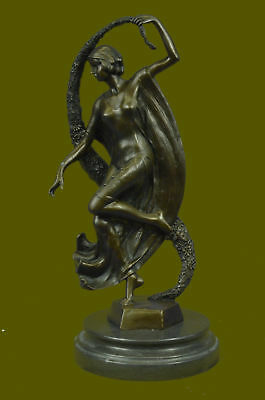 Signed Guirande Bronze Statue Art Decor Dance Marble Base Figurine Gift Artwork