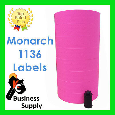 Monarch 1136 PINK price gun labels, 1 sleeve, quality made in USA, ink included