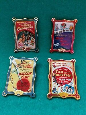 Walt Disney Movie Poster Pins (4) Vintage/Rare