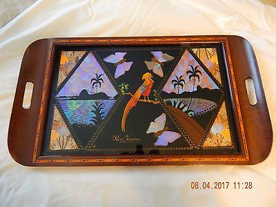 Vintage Butterfly Wing Art Inlaid Wood Serving Tray Rio De Janiero