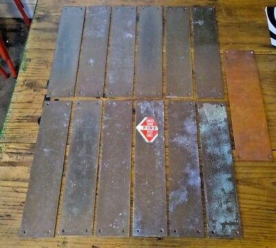 Reclaimed Brass Door Finger Plates Push Pull Plate 1940's Public Building Retro