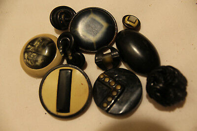 Vintage Celluloid Sewing Buttons; Black & White; 10 In Total; Buffed, Extruded;