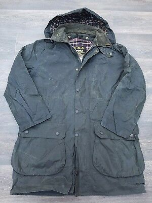 Mens Barbour A205 Border Wax Jacket Blue Size C40/102cm  #G65