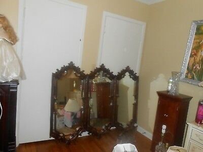 Large Antique Rococo Ornate Carved copper color .Mantle Triple 3 Panels mirror.