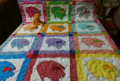 Handmade Appliqued Pieced Farm Pig Animal Baby Crib Quilt Blanket Personalized