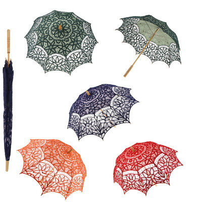 Romantic Wedding Party Battenburg Lace Cotton Parasol Art Canopy Sun Umbrella