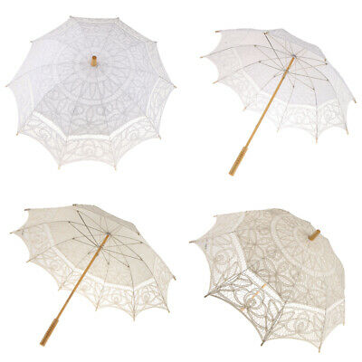 Wedding Bridal Lace Parasol Umbrella Victorian Lady Costume Prop White/Beige