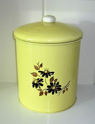 Vintage Large Metal Yellow Canister with Black and Copper Floral Pattern