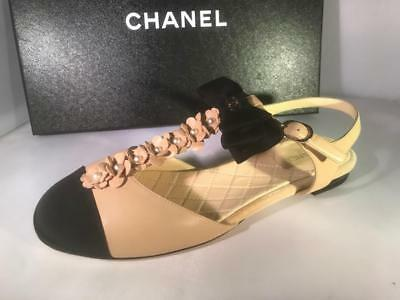 2f15cad980 CHANEL 17C Pearl Camellia T Strap Cap Toe Bow Leather Flat Sandals Shoes  $1175