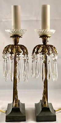 Pair of Rare Antique american EMPIRE Mantle Lamps  iron bases with bronze center