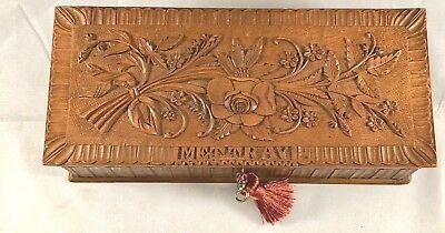 Beautiful Antique French Floral Carved Dresser Box With Key Mettray
