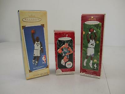New Hallmark Ornament Karl Malone Kevin Garnett Grant Hill  Hoop Stars Lot of 3