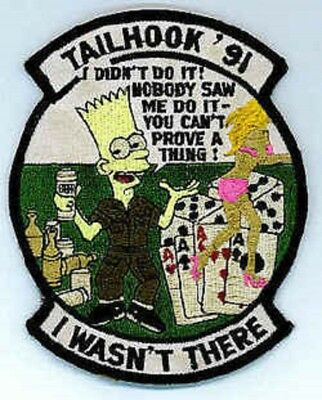 U.S. Navy TAILHOOK '91 bart simpson I WASNT THERE morale MILITARY  PATCH