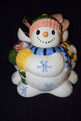 Ceramic Snowman Figurine Three Sided  Cookie Jar Canister Holiday Centerpiece