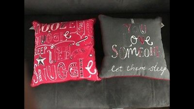Next Grey And Red Reversible Cushions x2 BNWT