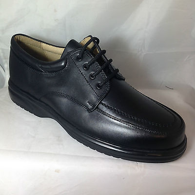 mens BLACK MUDGUARD LACE UP SHOES STEEL TOE WORK 3 EYELET COATED LEATHER MANAGER
