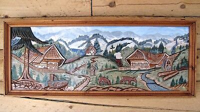 """Alpine Bavarian Village Wood Carved Wall Hanging  - 44"""" x 18"""" - Russ Beckwith"""