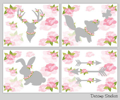 Deer Antler Roses Woodland Nursery Prints Wall Art Shabby Chic Girl Cottage Room