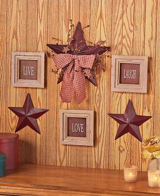 6 Pc Live Love Laugh Framed Signs & Country Stars Rustic Primitive Wall Decor