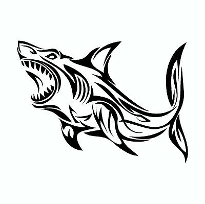 Great White Shark Tribal Vinyl Car Decal Sticker