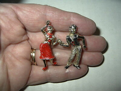 2 Vintage Goldtone Red & Black Enamel Man & Woman 50's Jive Dancers Brooch Pins