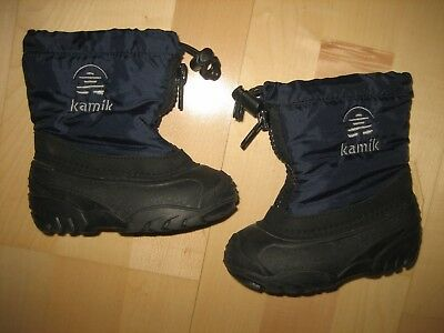 KAMIK Toddler Size 7 Snow Boots with felt liners NAVY BLUE Boys Girls EUC