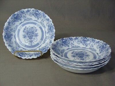6 Arcopal Soup Bowls In The Honorine Pattern (Blue Flowers), France