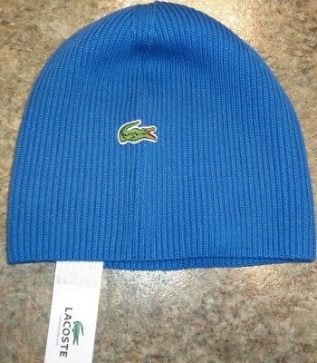 28d388757f5 NEW LACOSTE GREEN Croc Ribbed Knit Beanie Hat Cap
