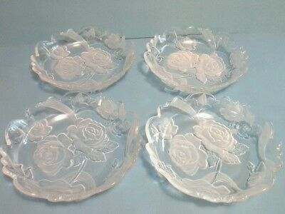Crystal Embossed Etched Frosted Rose  Scalloped Edge Bowl Dishes Set of 4