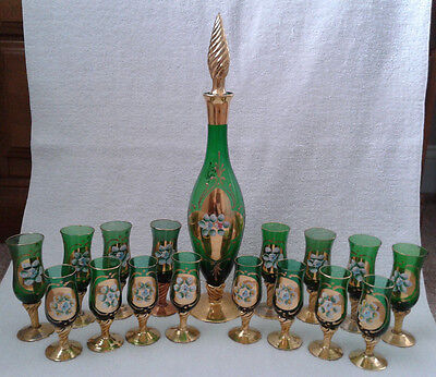 Vtg Czech Bohemian Green Art Glass Decanter Cordial Set Applied Flowers 22K Gold